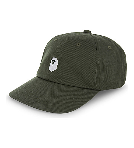 A BATHING APE Ape cotton-blend strapback cap (Green
