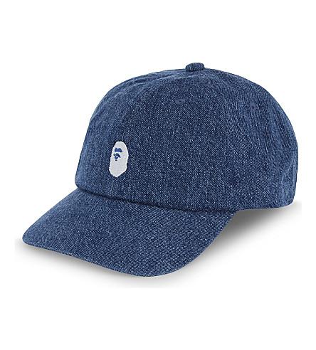 A BATHING APE Ape cotton-blend strapback cap (Indigo