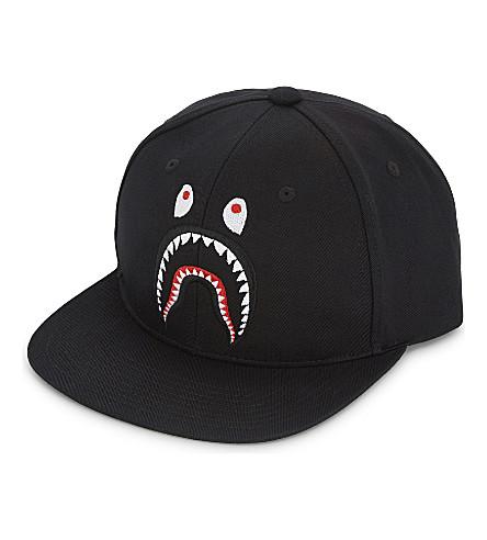 A BATHING APE Shark cotton snapback cap (Black