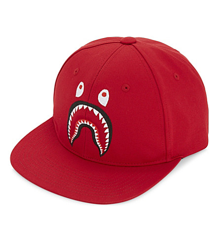 A BATHING APE Shark cotton snapback cap (Red