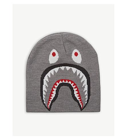 A BATHING APE Shark wool-blend beanie (Gray