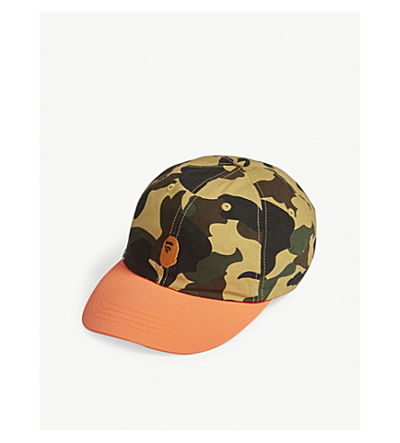 A BATHING APE 1st camouflage cotton strapback cap (Yellow