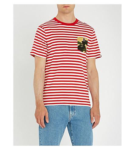 con rayas de camo Rojo a de algodón jersey A bolsillo BATHING camiseta APE 1ra nzwqSTvq