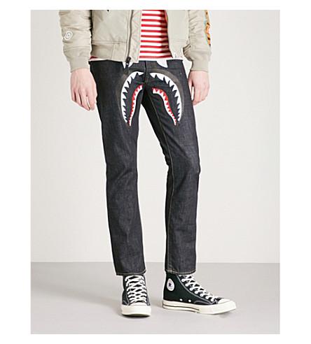 A BATHING APE Logo-print regular-fit straight jeans (Indigo