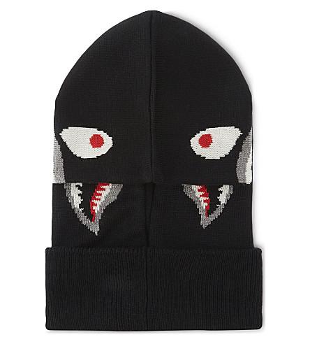 A BATHING APE Shark motif knitted wool-blend balaclava (Black