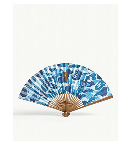 A BATHING APE Japanese camouflage print fan (Blue