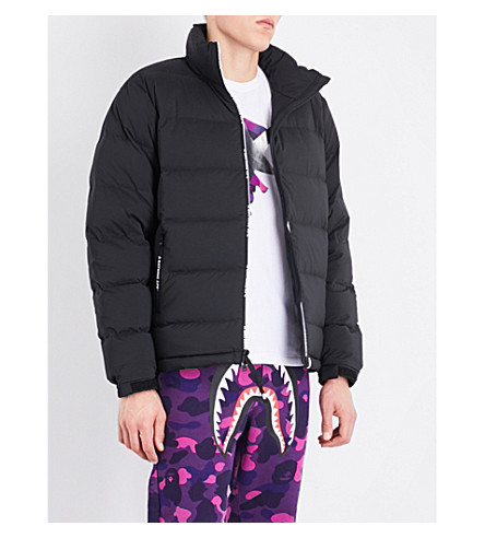 A BATHING APE Logo-trimmed down and feather-blend puffer jacket (Black
