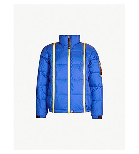 A BATHING APE Contrast-panel padded shell jacket (Blue