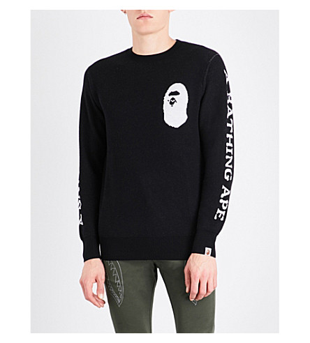 A BATHING APE Ape-print wool jumper (Black