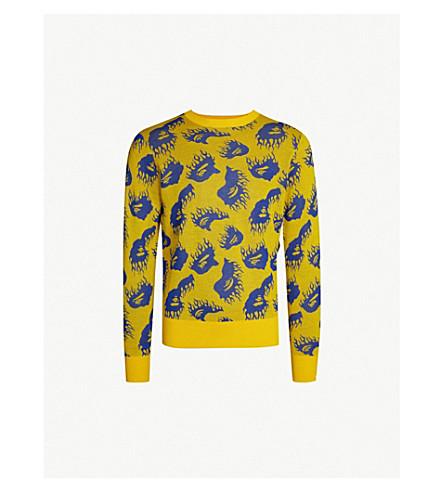A BATHING APE Fire pattern wool-blend sweater (Yellow
