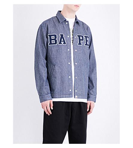 A BATHING APE Hickory cotton coach jacket (Indigo