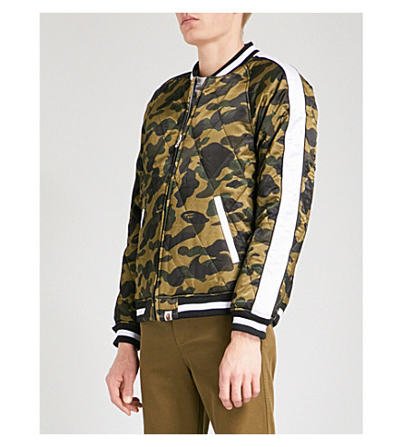 A BATHING APE Camouflage satin quilted bomber jacket (Green