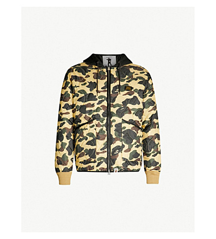 A BATHING APE Quilted camouflage-print shell jacket (Yellow