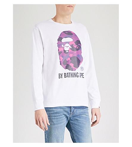 A BATHING APE Camouflage Ape Head cotton-jersey top (White+purple