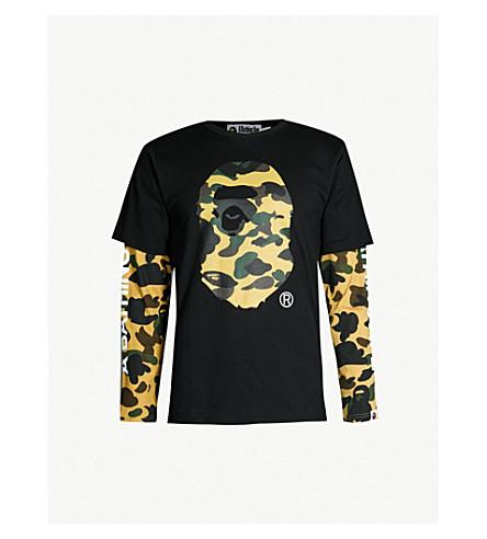 A BATHING APE Camouflage logo-graphic cotton-jersey T-shirt (Black