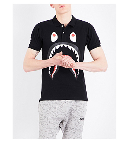 A BATHING APE Shark-print cotton-piqué polo shirt (Black