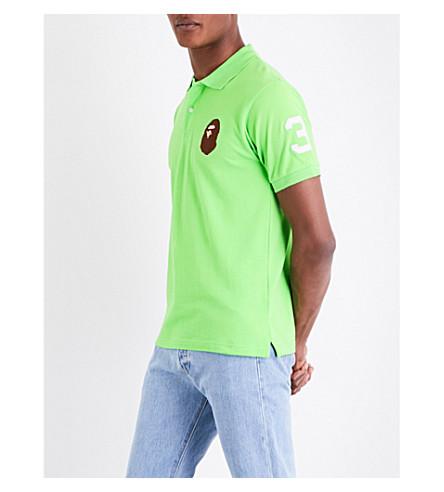 A BATHING APE Ape head cotton-piqué polo shirt (Green