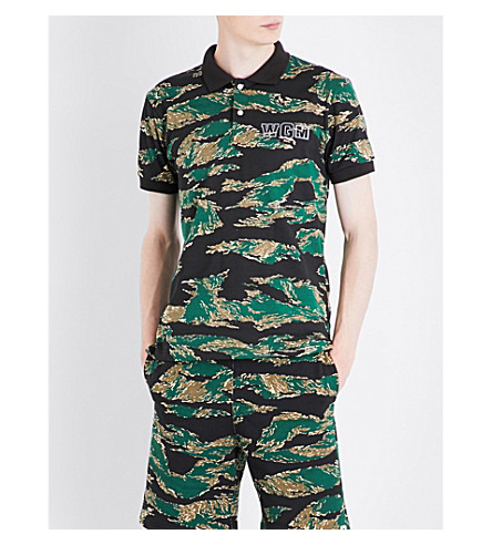 A BATHING APE Reflective shark-print camo cotton-jersey polo shirt (Green