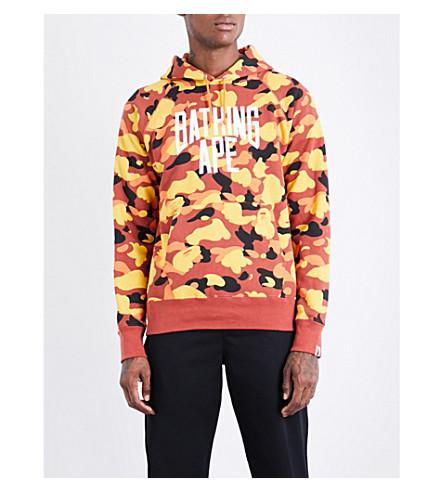 A BATHING APE Camouflage logo-print cotton-jersey hoody (Orange