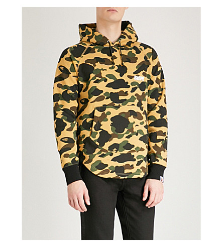 A BATHING APE Camouflage-print cotton-jersey hoody (Yellow