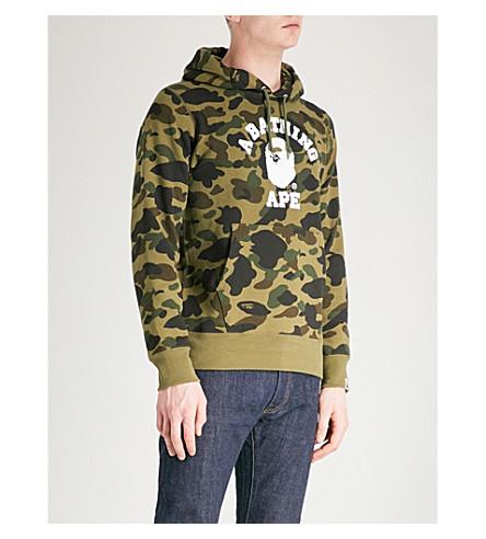 A BATHING APE Camouflage logo-print cotton-jersey hoody (Green
