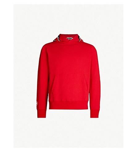 A BATHING APE Shark cotton-jersey hoody (Red
