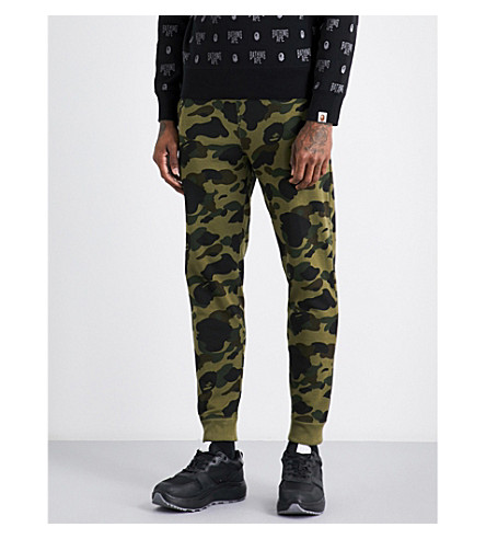 A BATHING APE Camouflage-print cotton-jersey jogging bottoms (Green