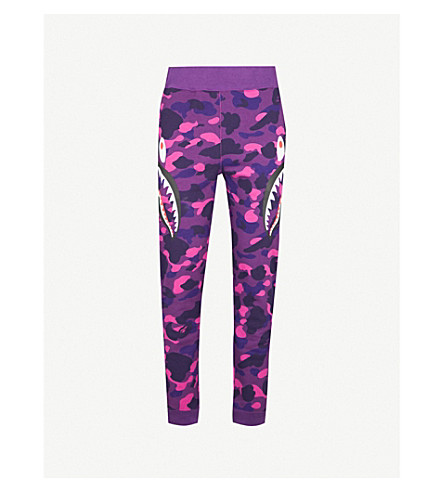 A BATHING APE Logo-print cotton-jersey jogging bottoms (Purple