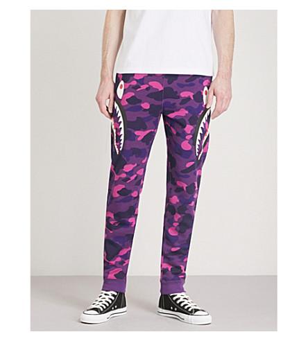 A BATHING APE Logo-print cotton-jersey jogging bottoms (Purple