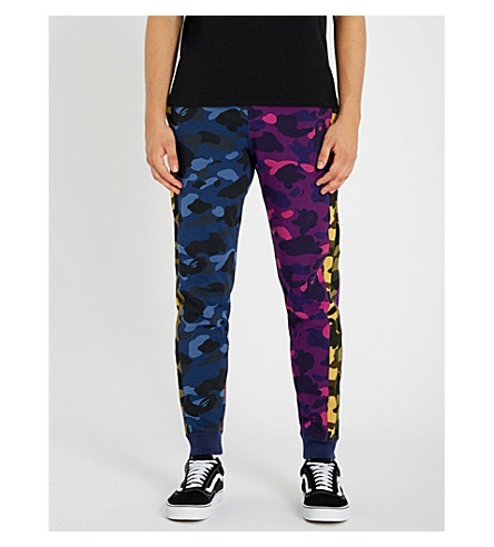 A BATHING APE Camouflage Crazy cotton-jersey track pants