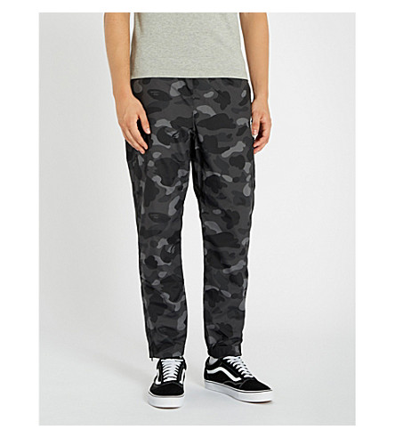 A BATHING APE Camouflage-print relaxed-fit shell jogging bottoms (Black