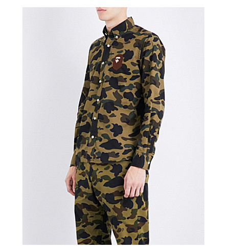 A BATHING APE Camouflage-print slim-fit cotton shirt (Green