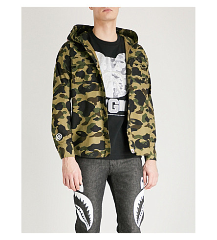 A BATHING APE Camouflage-print cotton jacket (Green