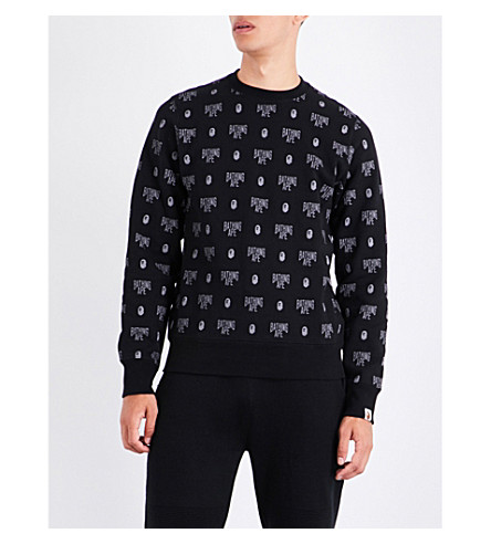 A BATHING APE Monogram-print cotton-jersey sweatshirt (Black