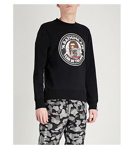 A BATHING APE Year Of The Dog printed cotton-jersey sweatshirt (Black