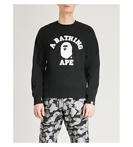A BATHING APE Logo-print cotton-jersey sweatshirt (Black