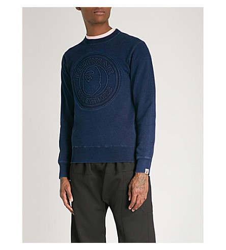 A BATHING APE Busy Works cotton-jersey sweatshirt (Indigo