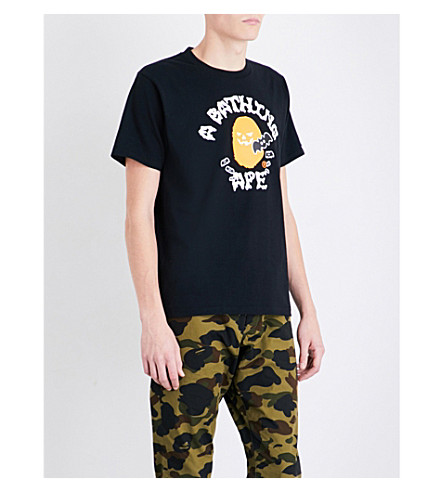 A BATHING APE Pumpkin logo-print cotton-jersey T-shirt (Black