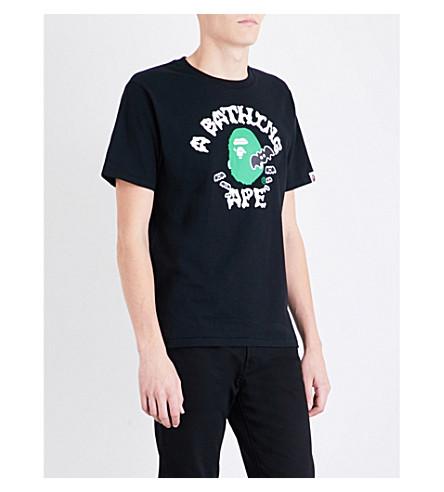 A BATHING APE Logo-print cotton-jersey T-shirt (Black