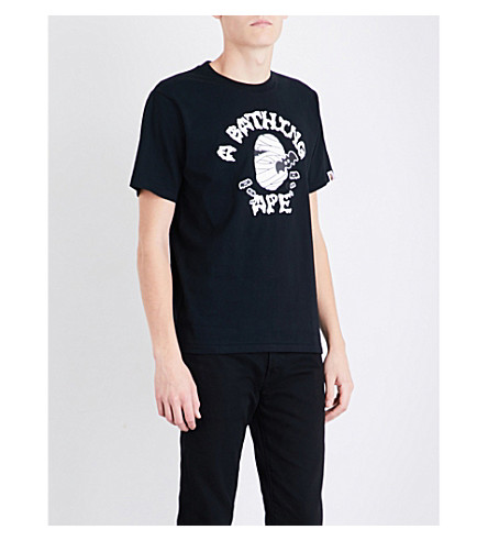 A BATHING APE Mummy logo-print cotton-jersey T-shirt (Black