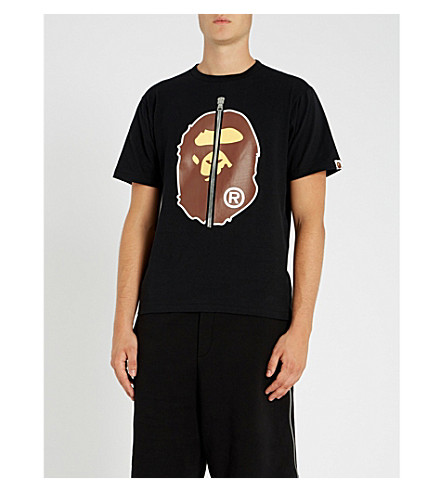 A BATHING APE Ape-print cotton-jersey T-shirt (Black