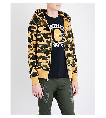A BATHING APE Ape-hood cotton-jersey hoody (Yellow