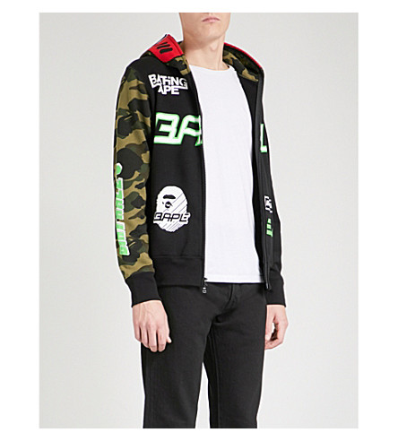 A BATHING APE BMX logo-print cotton-jersey hoody (Black