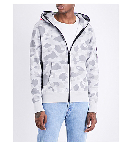 A BATHING APE Camouflage-print cotton-blend hoody (Gray