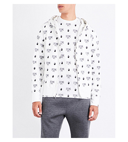 A BATHING APE Monogram-print cotton-jersey hoody (White