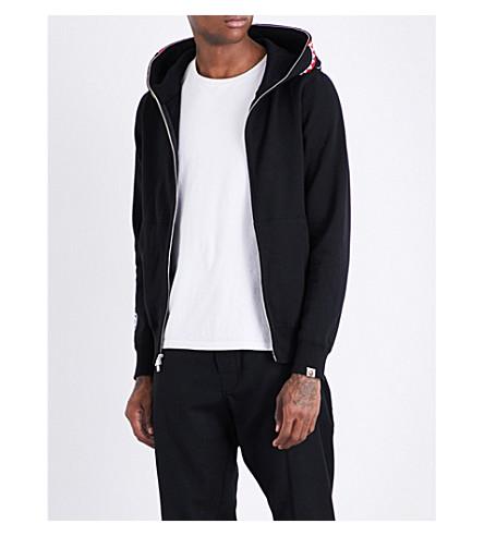 A BATHING APE Shark cotton-jersey hoody (Black