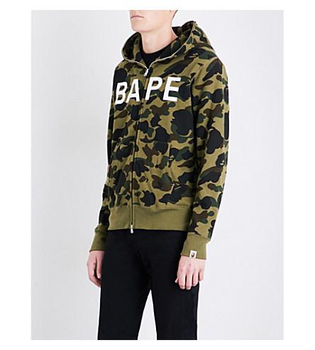 A BATHING APE Camouflage ape-print cotton-jersey hoody (Green