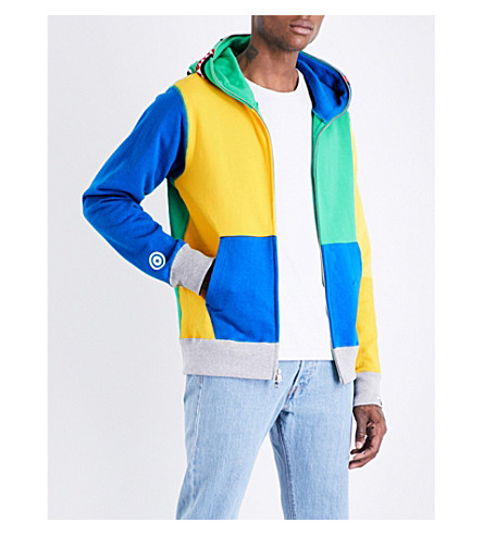 A BATHING APE Colour block cotton-jersey hoody (Green