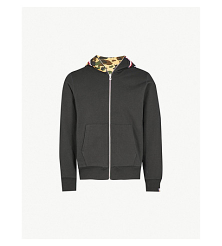 A BATHING APE Camouflage-print reversible cotton-jersey hoody (Black