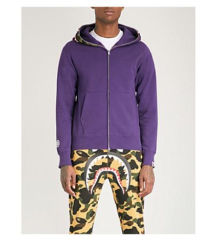 A BATHING APE Shark cotton-jersey hoody (Purple